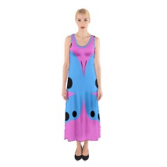 Pink Blue Butterfly Animals Fly Sleeveless Maxi Dress