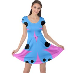 Pink Blue Butterfly Animals Fly Cap Sleeve Dresses