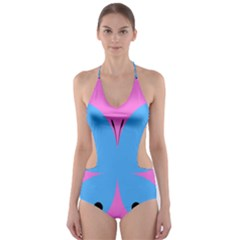Pink Blue Butterfly Animals Fly Cut Out One Piece Swimsuit