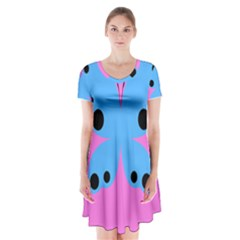 Pink Blue Butterfly Animals Fly Short Sleeve V Neck Flare Dress