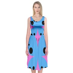 Pink Blue Butterfly Animals Fly Midi Sleeveless Dress