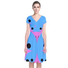 Pink Blue Butterfly Animals Fly Short Sleeve Front Wrap Dress