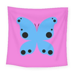 Pink Blue Butterfly Animals Fly Square Tapestry (large)