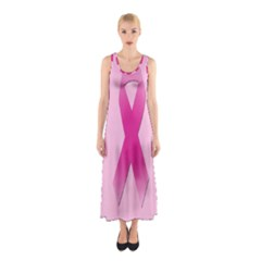 Pink Breast Cancer Symptoms Sign Sleeveless Maxi Dress
