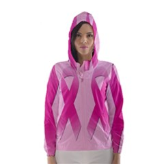 Pink Breast Cancer Symptoms Sign Hooded Wind Breaker (women)