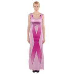 Pink Breast Cancer Symptoms Sign Maxi Thigh Split Dress