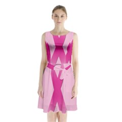 Pink Breast Cancer Symptoms Sign Sleeveless Chiffon Waist Tie Dress by Alisyart