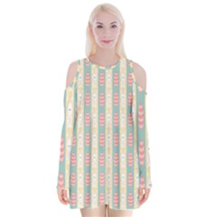 Rabbit Eggs Animals Pink Yellow White Rd Blue Velvet Long Sleeve Shoulder Cutout Dress