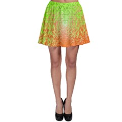 Plaid Green Orange White Circle Skater Skirt