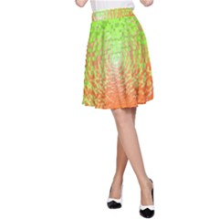 Plaid Green Orange White Circle A Line Skirt