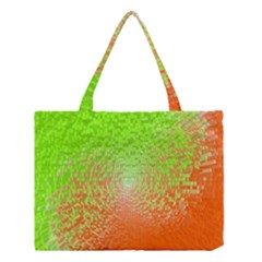 Plaid Green Orange White Circle Medium Tote Bag