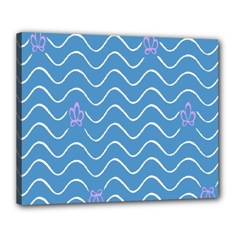 Springtime Wave Blue White Purple Floral Flower Canvas 20  X 16
