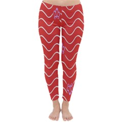 Springtime Wave Red Floral Flower Classic Winter Leggings