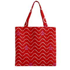 Springtime Wave Red Floral Flower Zipper Grocery Tote Bag by Alisyart