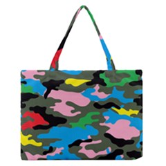 Rainbow Camouflage Medium Zipper Tote Bag by boho
