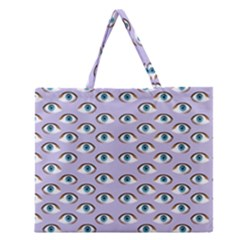 Purple Eyeballs Zipper Large Tote Bag by boho