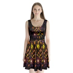 Art Design Image Oily Spirals Texture Split Back Mini Dress