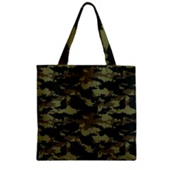 Camo Pattern Zipper Grocery Tote Bag