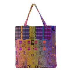 Circuit Board Pattern Lynnfield Die Grocery Tote Bag by Simbadda