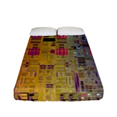 Circuit Board Pattern Lynnfield Die Fitted Sheet (full/ Double Size) by Simbadda