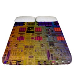 Circuit Board Pattern Lynnfield Die Fitted Sheet (king Size) by Simbadda
