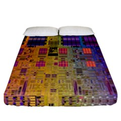 Circuit Board Pattern Lynnfield Die Fitted Sheet (california King Size)
