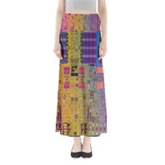 Circuit Board Pattern Lynnfield Die Maxi Skirts by Simbadda