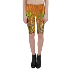 Circuit Board Pattern Cropped Leggings  by Simbadda