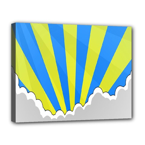 Sunlight Clouds Blue Sky Yellow White Canvas 14  X 11