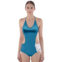 Swan Animals Swim Blue Water Cut Out One Piece Swimsuit