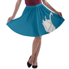 Swan Animals Swim Blue Water A Line Skater Skirt