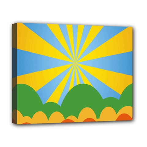 Sunlight Clouds Blue Yellow Green Orange White Sky Deluxe Canvas 20  X 16