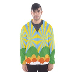 Sunlight Clouds Blue Yellow Green Orange White Sky Hooded Wind Breaker (men) by Alisyart