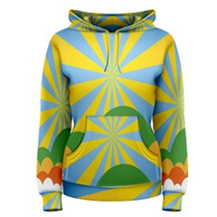 Sunlight Clouds Blue Yellow Green Orange White Sky Women s Pullover Hoodie