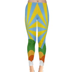 Sunlight Clouds Blue Yellow Green Orange White Sky Classic Winter Leggings