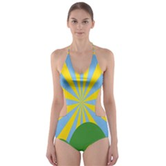 Sunlight Clouds Blue Yellow Green Orange White Sky Cut Out One Piece Swimsuit