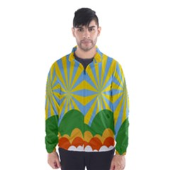 Sunlight Clouds Blue Yellow Green Orange White Sky Wind Breaker (men)