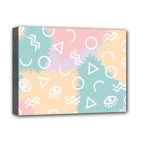Triangle Circle Wave Eye Rainbow Orange Pink Blue Sign Deluxe Canvas 16  X 12   by Alisyart