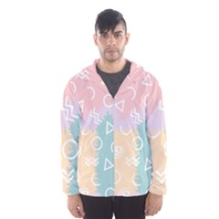 Triangle Circle Wave Eye Rainbow Orange Pink Blue Sign Hooded Wind Breaker (men)