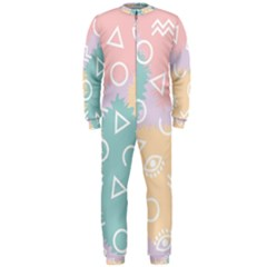 Triangle Circle Wave Eye Rainbow Orange Pink Blue Sign Onepiece Jumpsuit (men)  by Alisyart