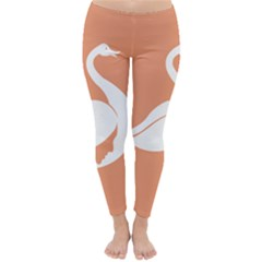 Swan Girl Face Hair Face Orange White Classic Winter Leggings