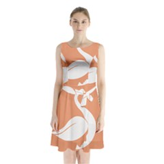 Swan Girl Face Hair Face Orange White Sleeveless Chiffon Waist Tie Dress
