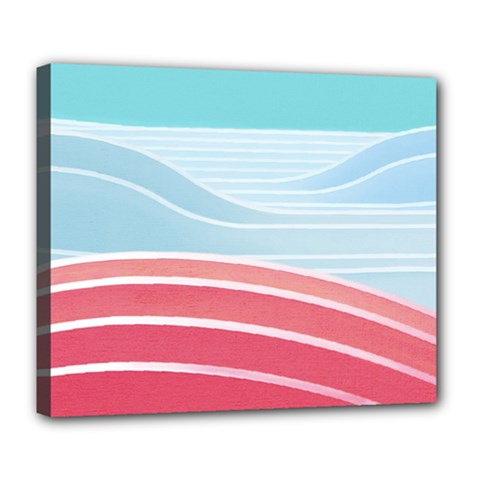 Wave Waves Blue Red Deluxe Canvas 24  X 20   by Alisyart