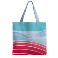 Wave Waves Blue Red Grocery Tote Bag