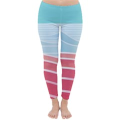Wave Waves Blue Red Classic Winter Leggings