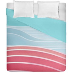 Wave Waves Blue Red Duvet Cover Double Side (california King Size)