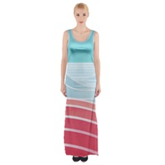 Wave Waves Blue Red Maxi Thigh Split Dress