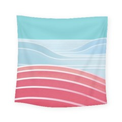 Wave Waves Blue Red Square Tapestry (small) by Alisyart