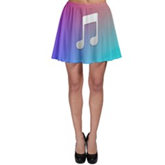 Tunes Sign Orange Purple Blue White Music Notes Skater Skirt