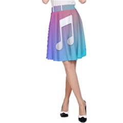 Tunes Sign Orange Purple Blue White Music Notes A Line Skirt
